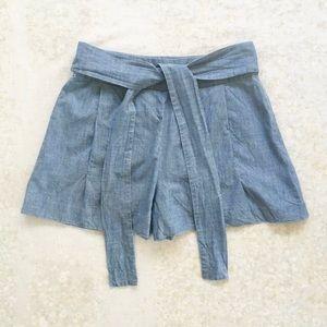J Crew Tie-Waist Shorts in Chambray Blue Pockets 8